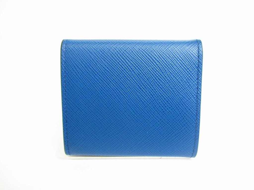 1d6f380f4d0e PRADA Blue Black White Saffiano Leather Coin Case Purse  7211  7211